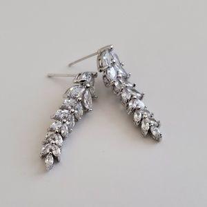 Marquise cut cubic zirconia cz drop Earrings